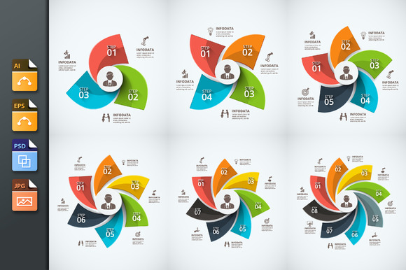 6 Swirl Infographics Templates