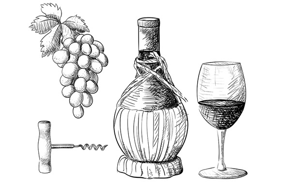 Hand Drawn Vector Wine Collection