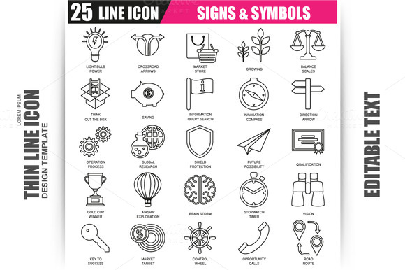 Thin Line Signs And Symbols Icons