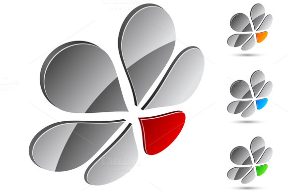 Bright High-quality 3D Flower Logo
