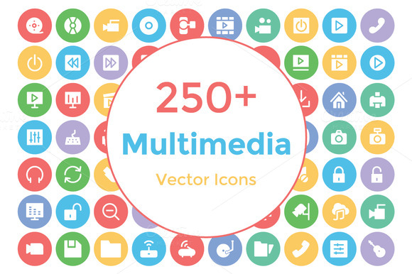 250 Multimedia Vector Icons