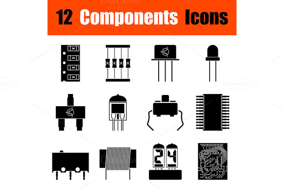 Set Of Electronic Components Icons
