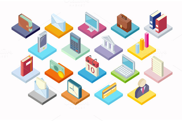 Set Of Business Icon Isometry 3d
