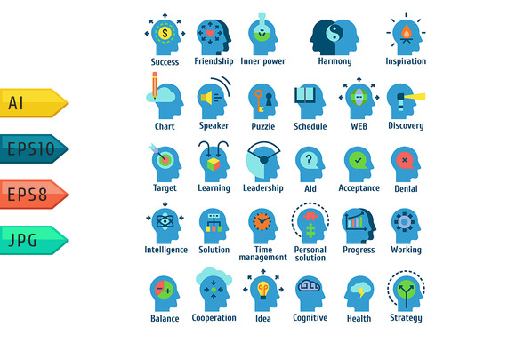 Icons Set Of Human Brain Working