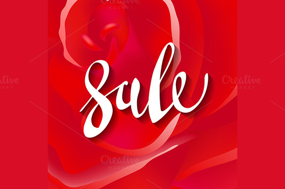Red Roses Sale Lettering Vector