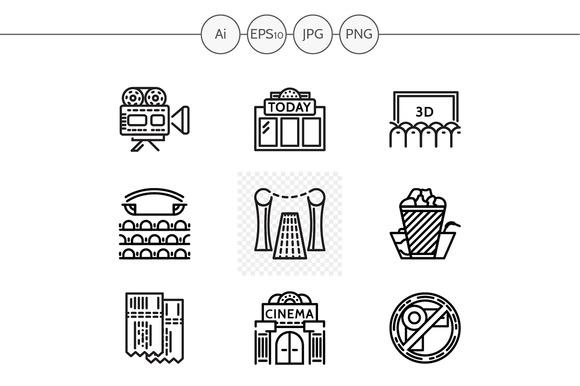 Cinema Black Line Vector Icons Set