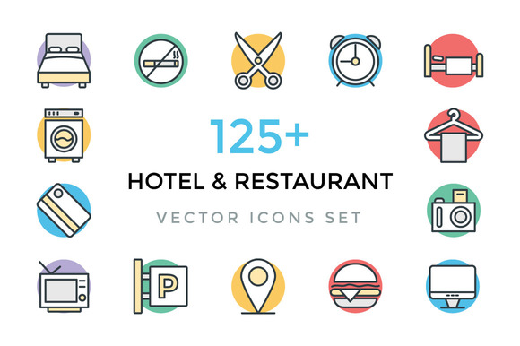125 Hotel And Restaurant Icons