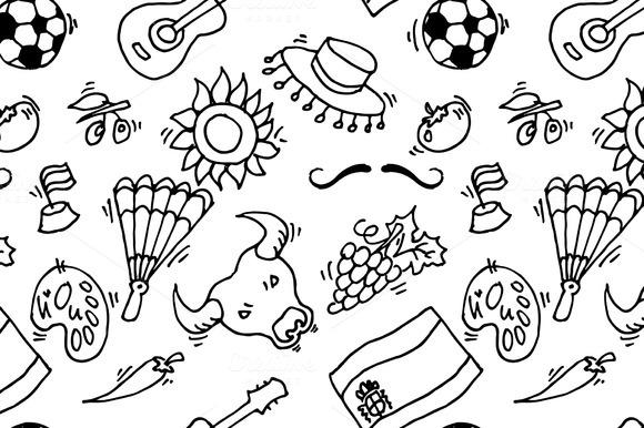 Doodles Symbols Pattern Of Spain