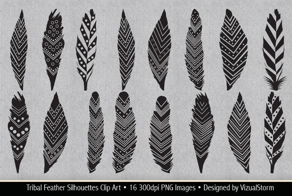 Tribal Feather Silhouette Clip Art