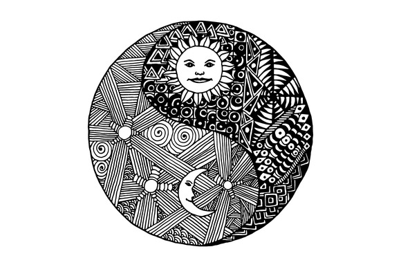 Yin Yang Sign In Doodle And Zentangl