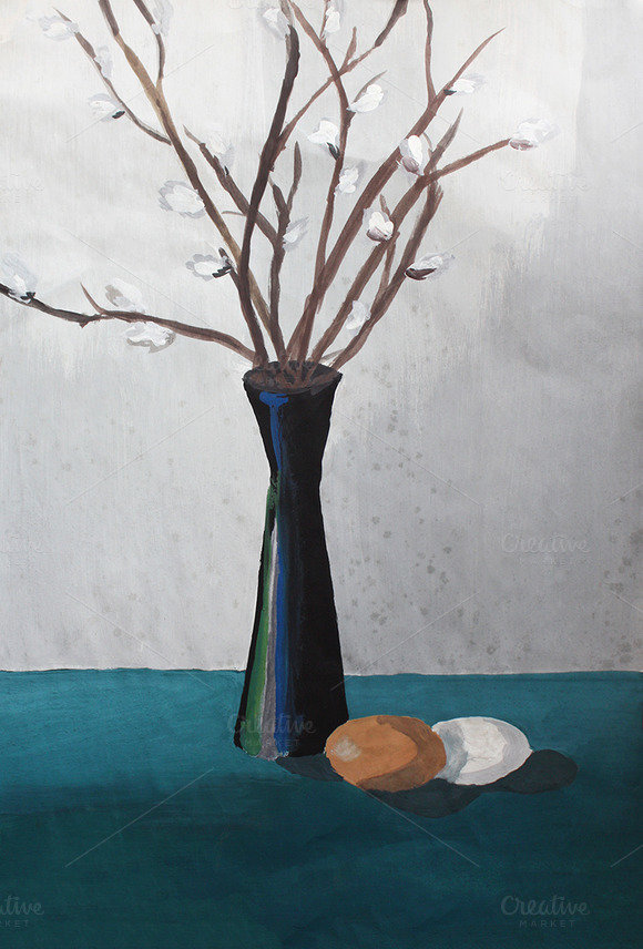 Willow And Easter Eggs Still Life