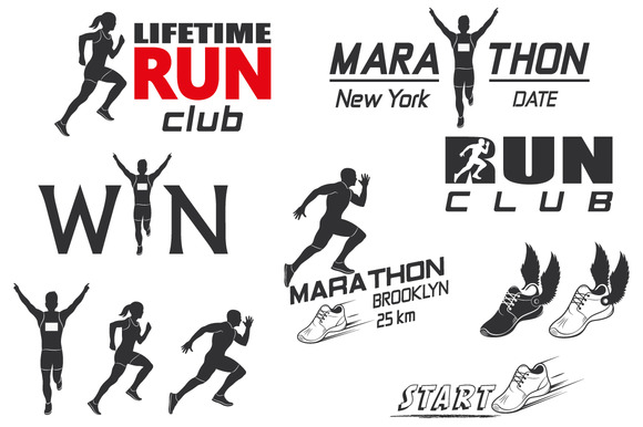 Set Of Vintage Run Club Labels