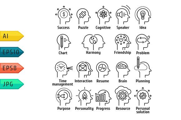 Icons Set Of Human Brain Working