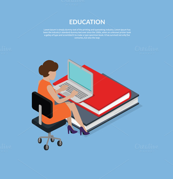 Education Concept 3D Isometric