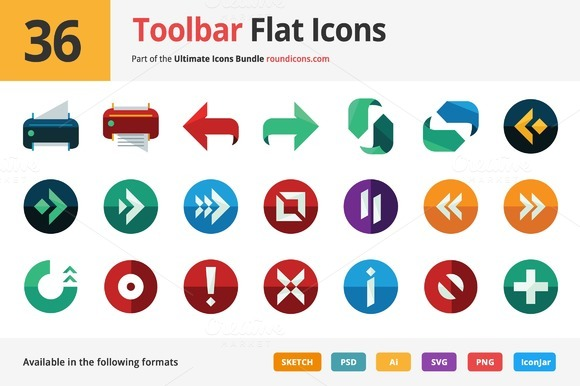 36 Toolbar Flat Icons