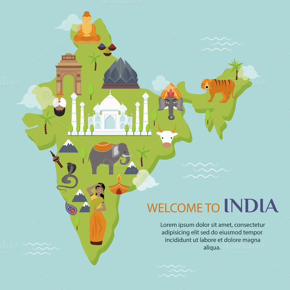 India Landmark Travel Map Vector