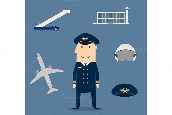 Pilot Profession And Aviation Icons