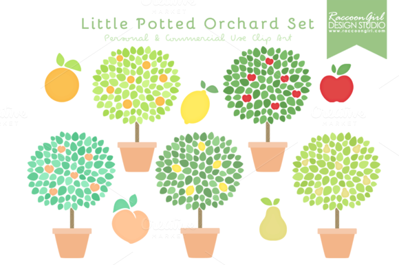 Little Potted Orchard Clip Art Set