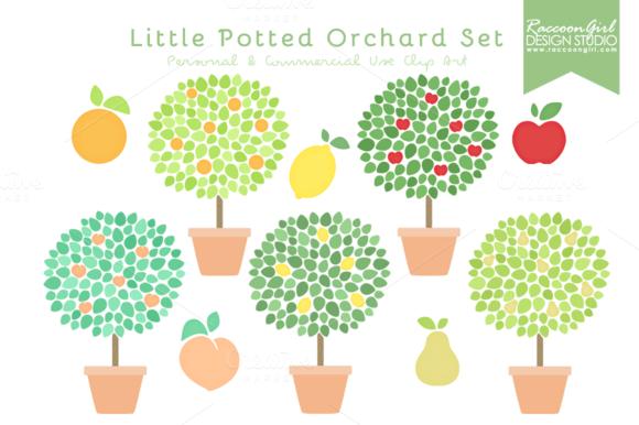 Little Potted Orchard Clip Art Set
