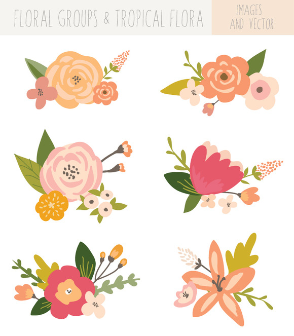 Flower Bunches Clip Art Tropical