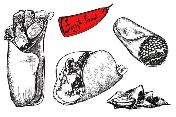 Set Of Fast Food Burrito