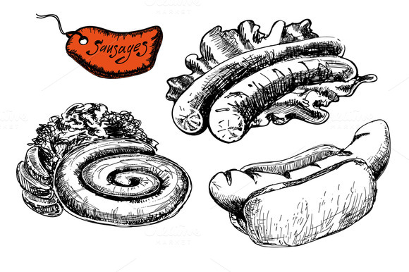 Set Of Fast Food Sausages