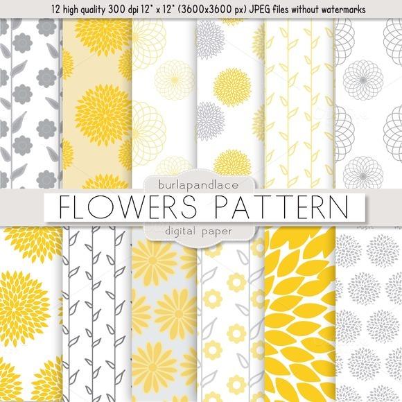 Flower Yellow Grey Pattern