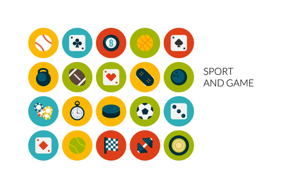 Flat Icons Set Sport And Game