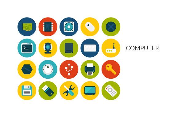 Flat Icons Set Computer