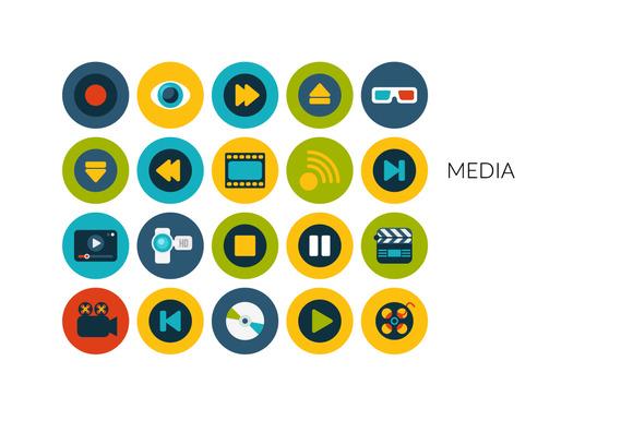 Flat Icons Set Media