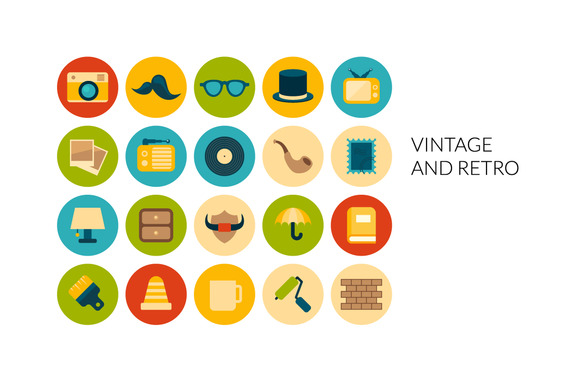 Flat Icons Set Vintage And Retro