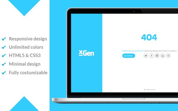 XGen Minimal 404 Responsive Page