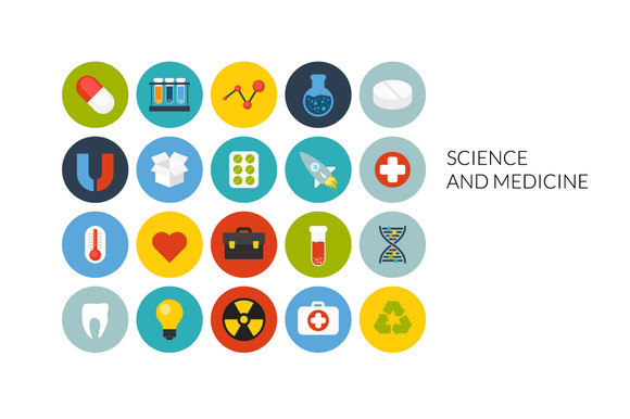 Flat Icons Set Science Medicine