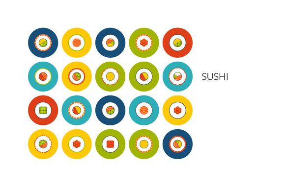 Flat Icons Set Sushi