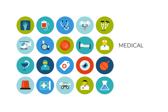 Flat Icons Set Medical