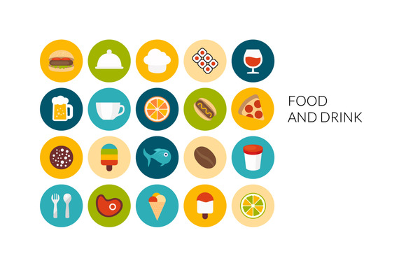 Flat Icons Set Food And Drink