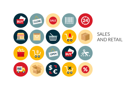 Flat Icons Set Sales And Retail
