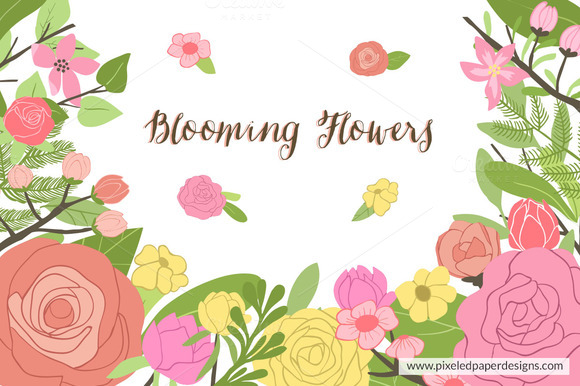 Blooming Flowers Vector