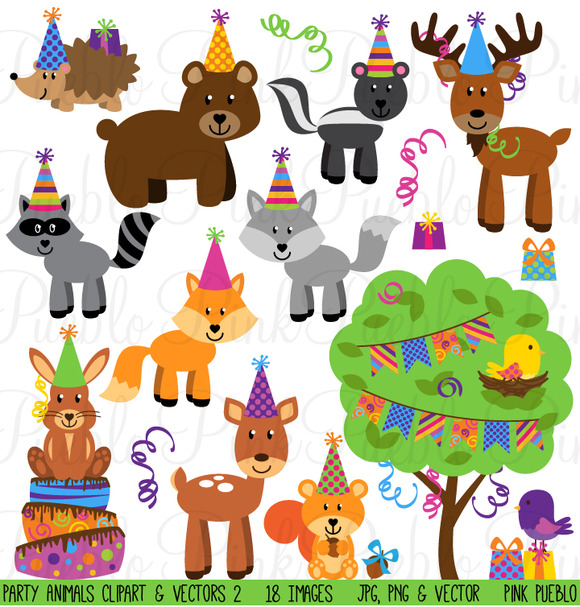 Woodland Party Animal Clipart Vector
