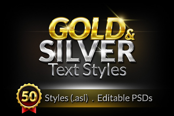50 Gold Silver Text Styles