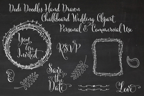Hand Drawn Chalkboard Wedding Clipar