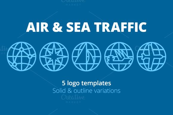 5 Logo Templates Air Sea Traffic