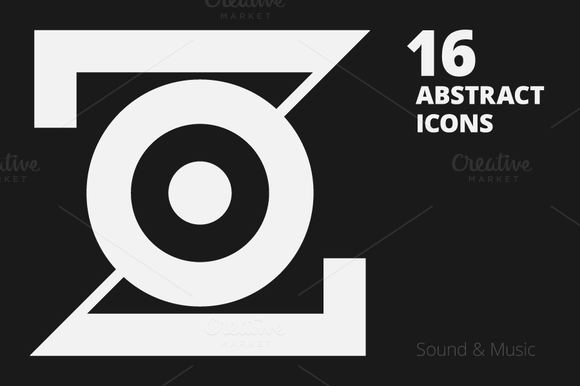 16 Abstract Icons Sound Music