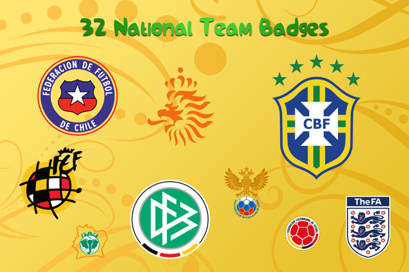 WC 2014 Team Badges Flags More