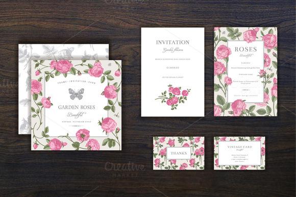 Set Vintage Garden Pink Rose