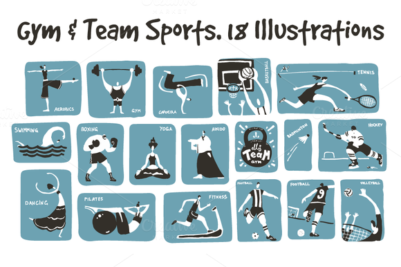 18 Gym Team Sports Illustrations