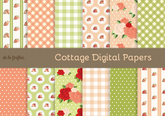Cottage Digital Papers