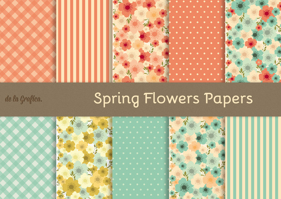 Spring Flowers Digital Papers