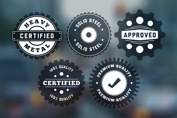 Vintage Gear Badges Vector Pack