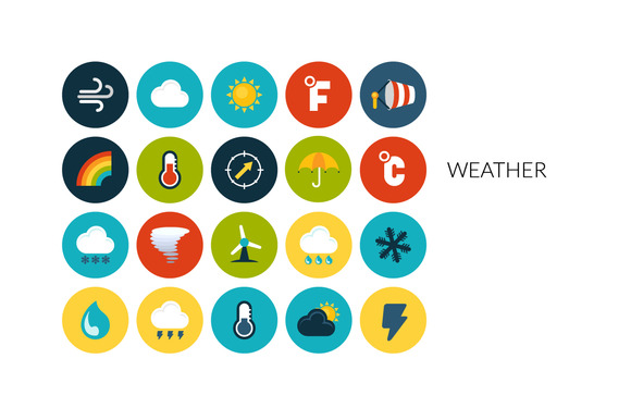 Flat Icons Set Weather